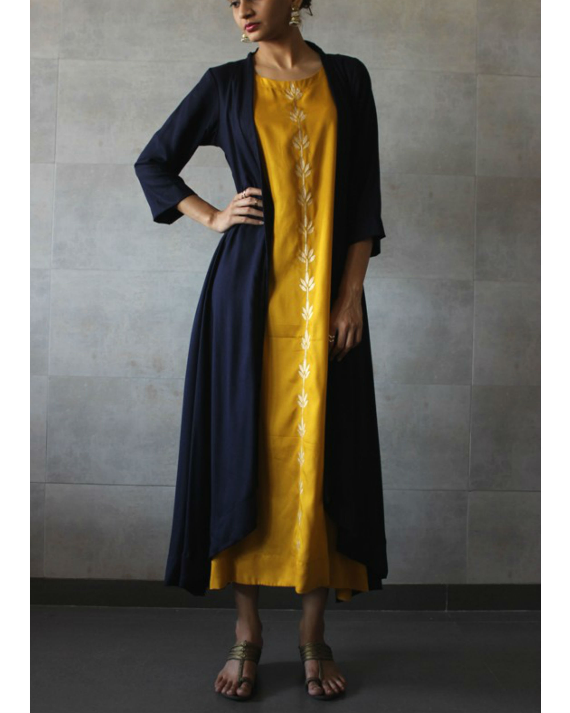 Navy blue cape and yellow kurta set