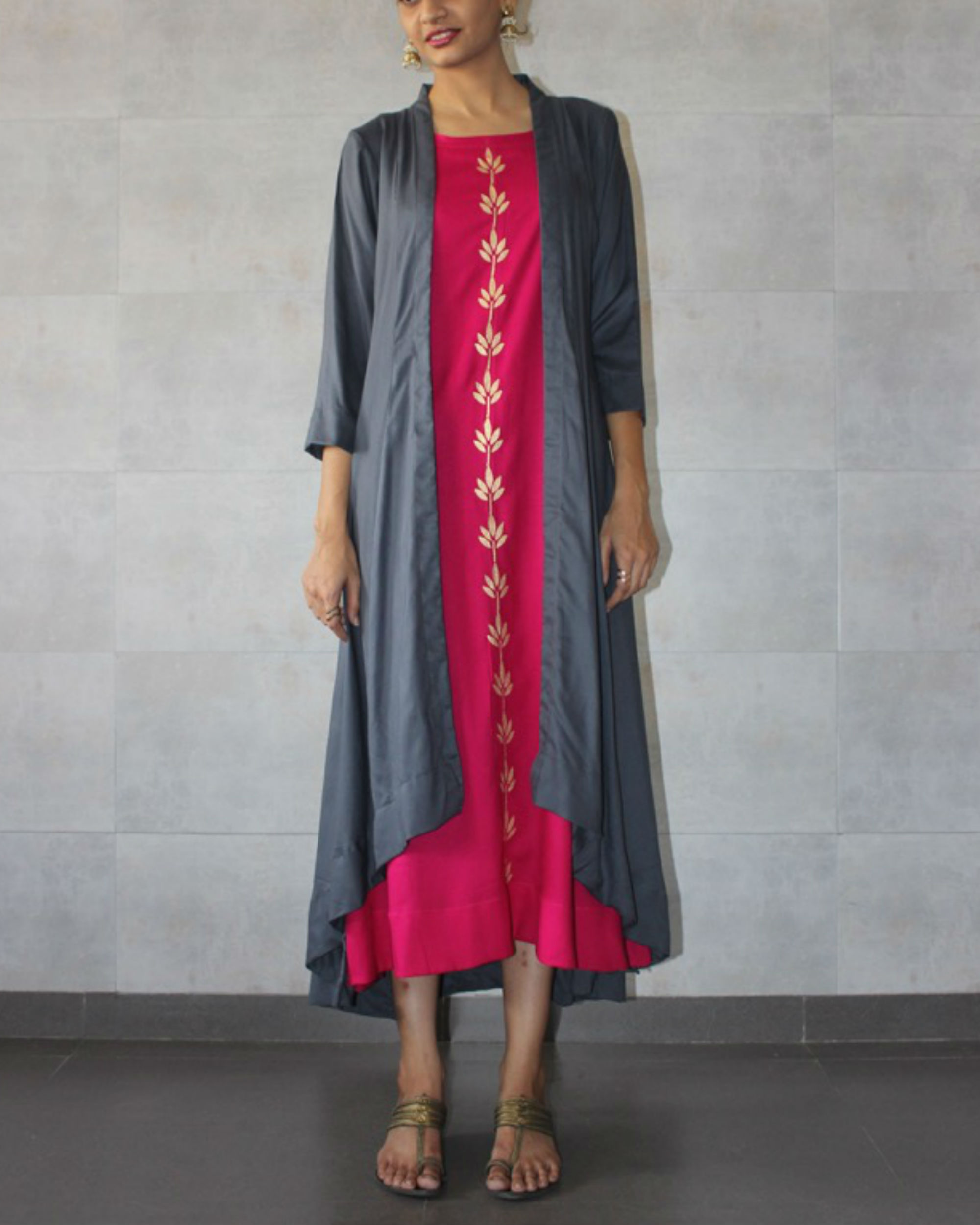 Charcoal cape and hot pink kurta set
