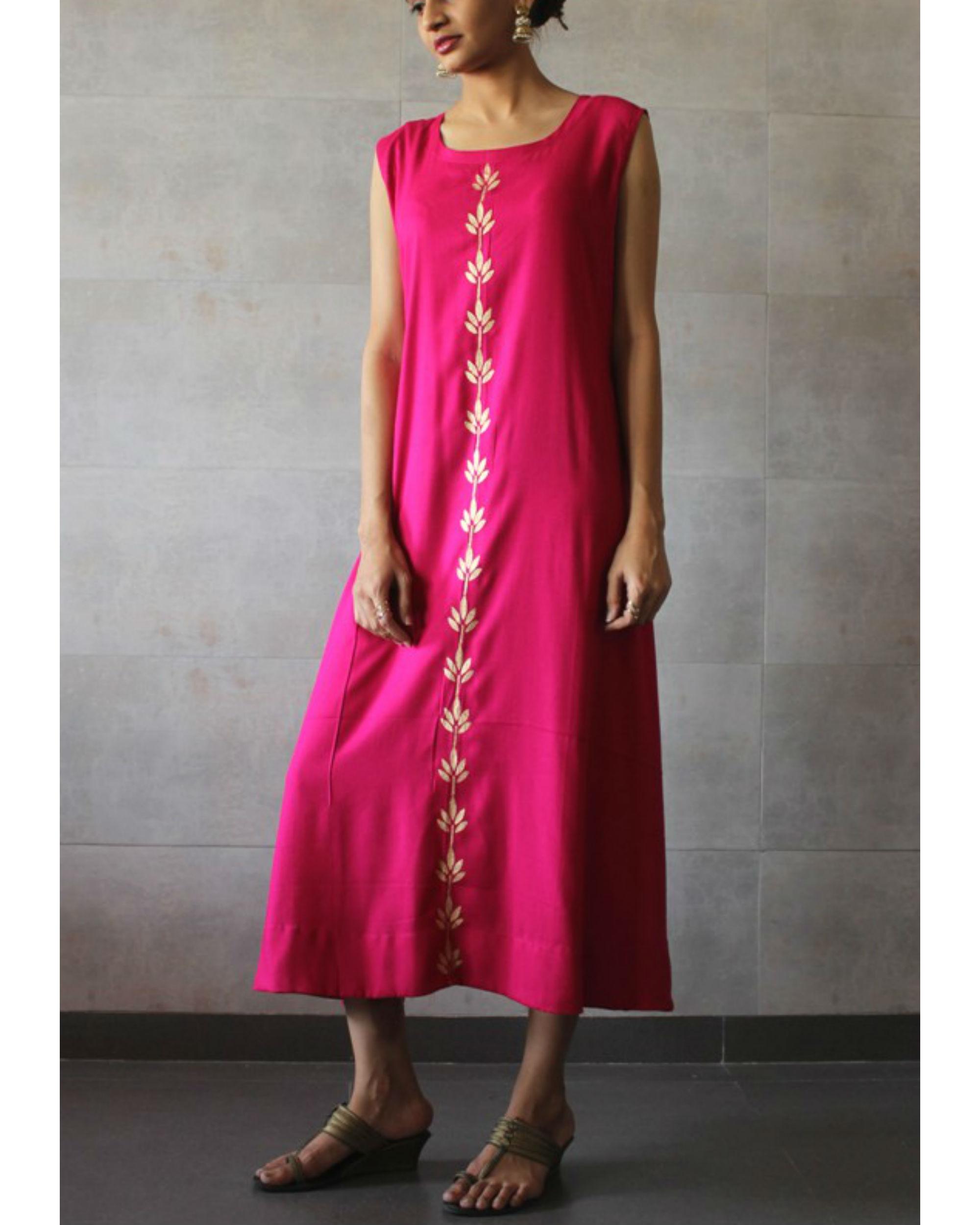 Hot pink sleeveless a-line kurta