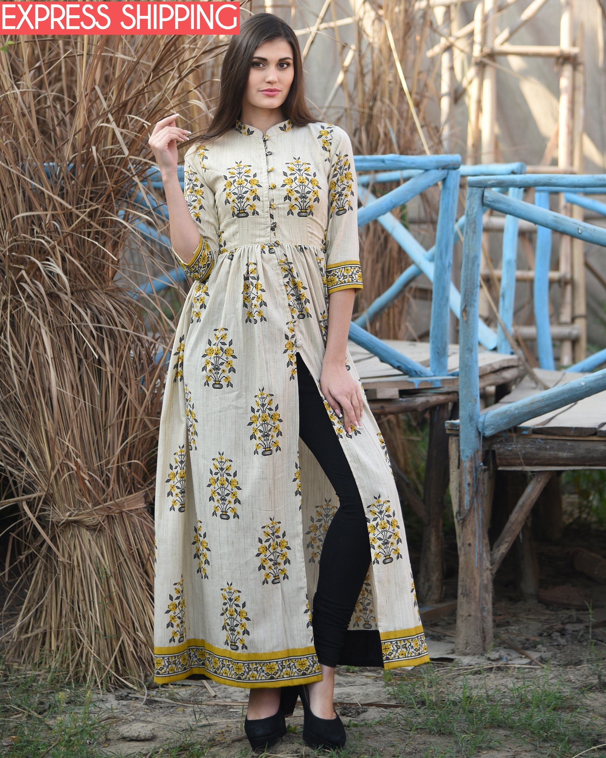 Mustard and off white block printed cape