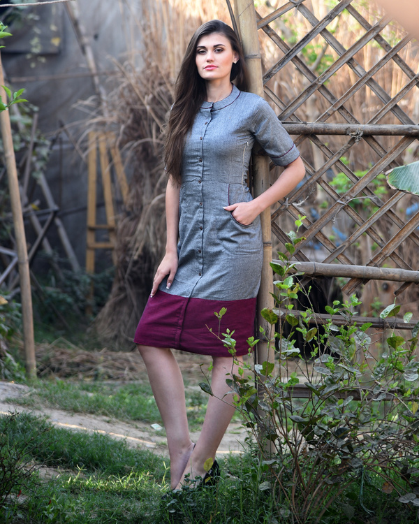 Grey and maroon bordered dress