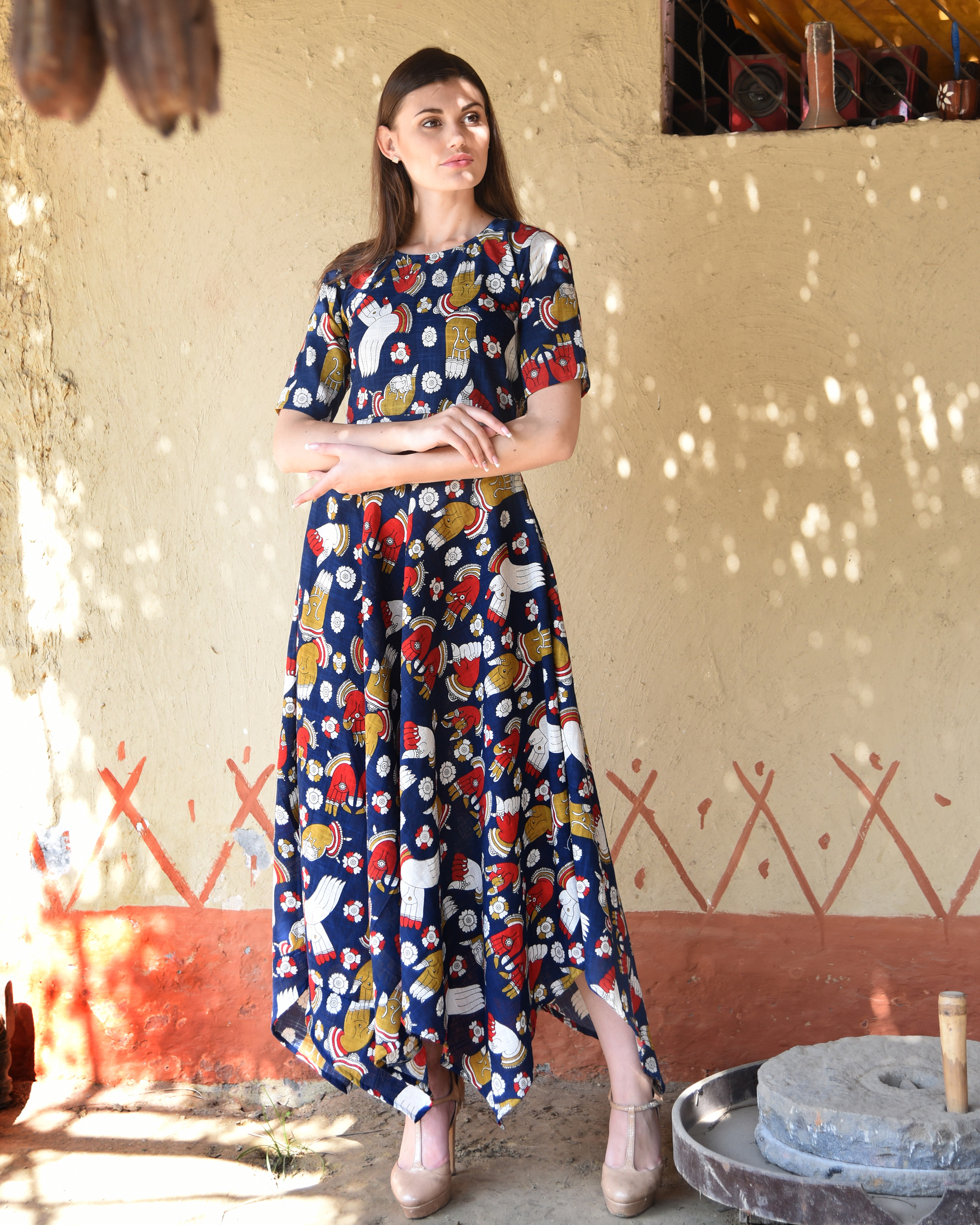 Navy blue kalamkari dress