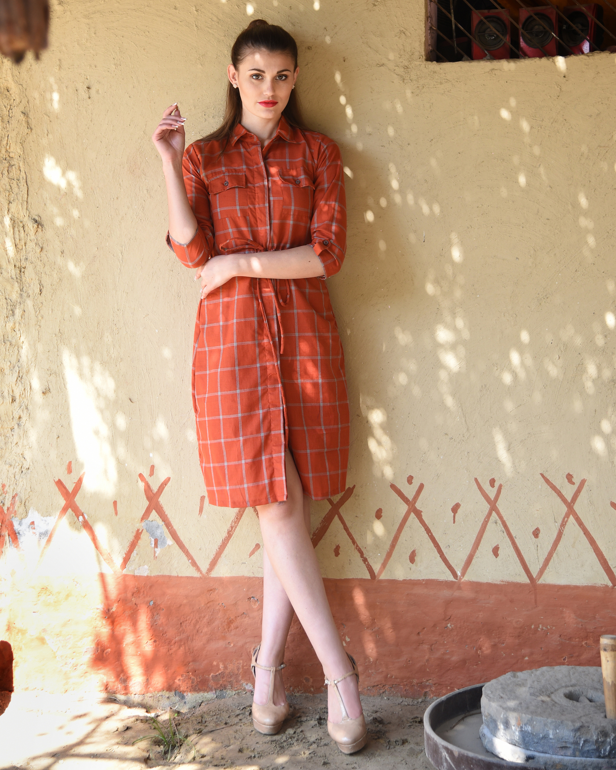 Rust checked shirt dress