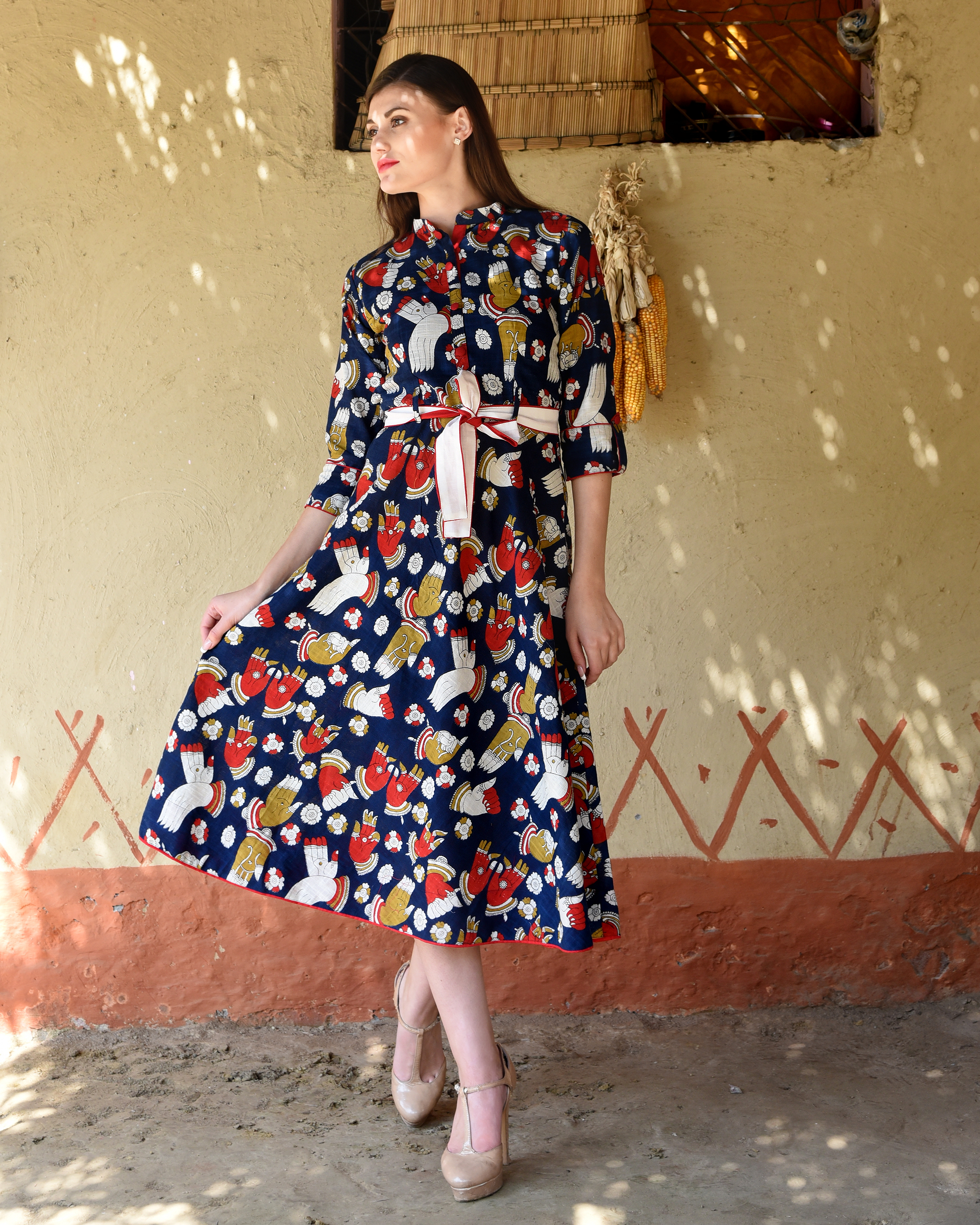 Navy blue kalamkari flared midi