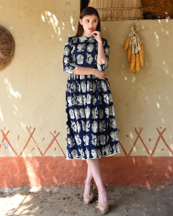 Navy blue knife pleated kalamkari dress