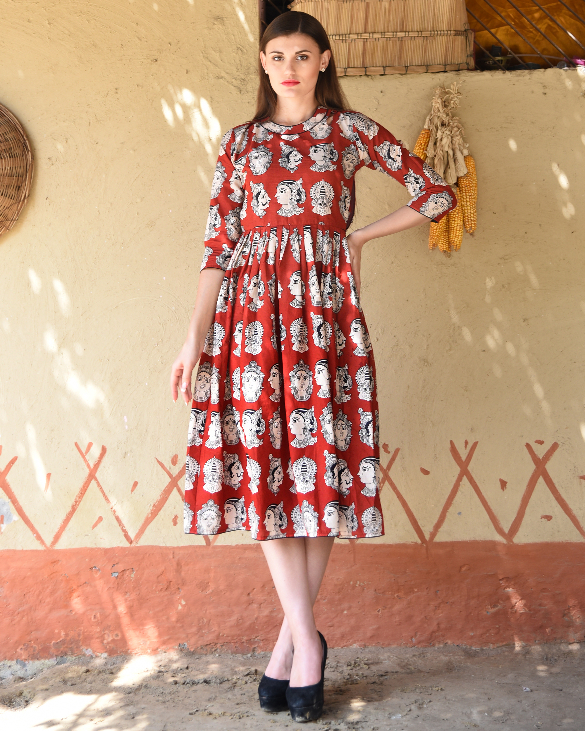 Rust knife pleated kalamkari dress