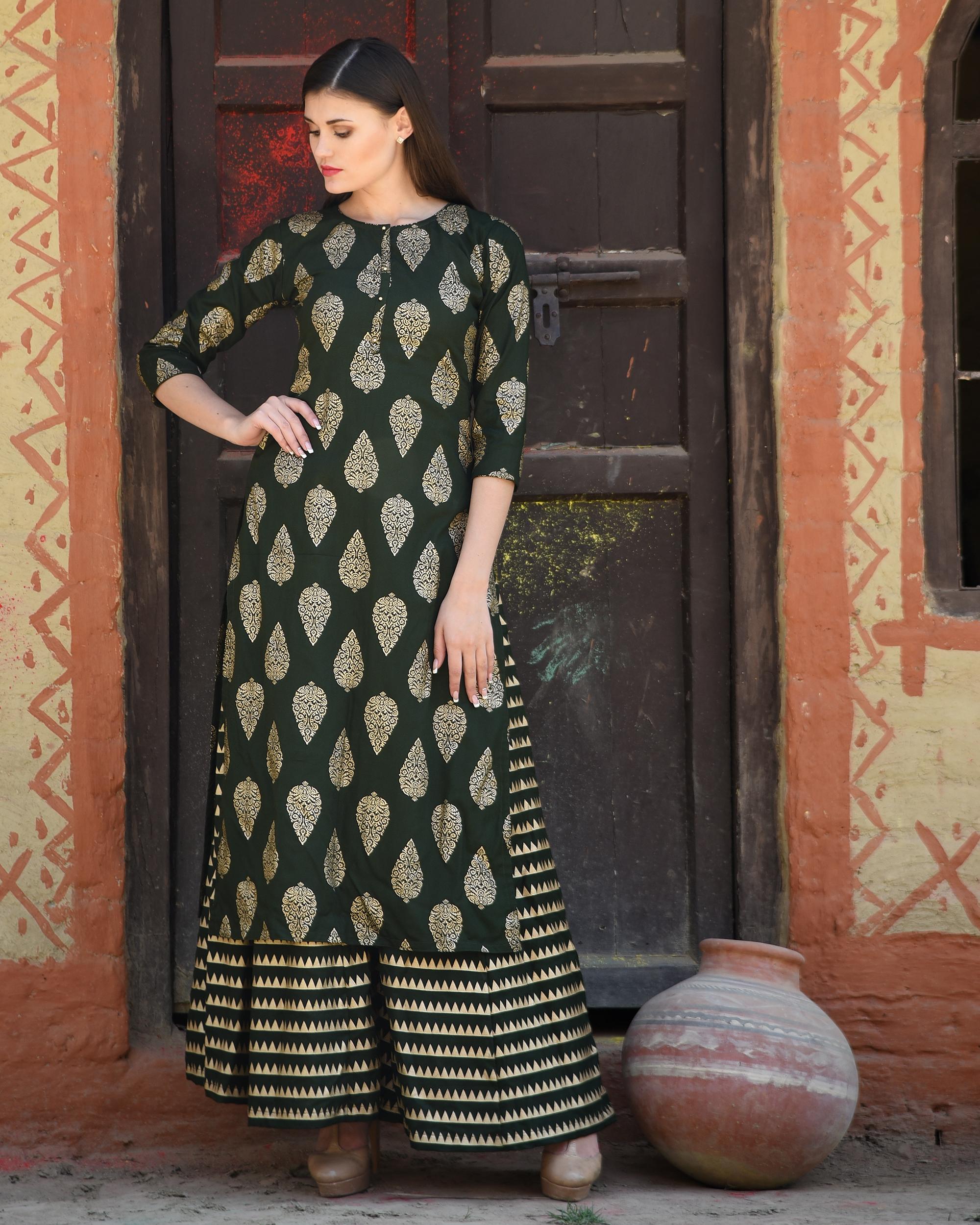 Green block printed kurta with striped palazzos