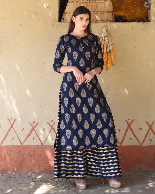 Navy blue block printed kurta with striped palazzos