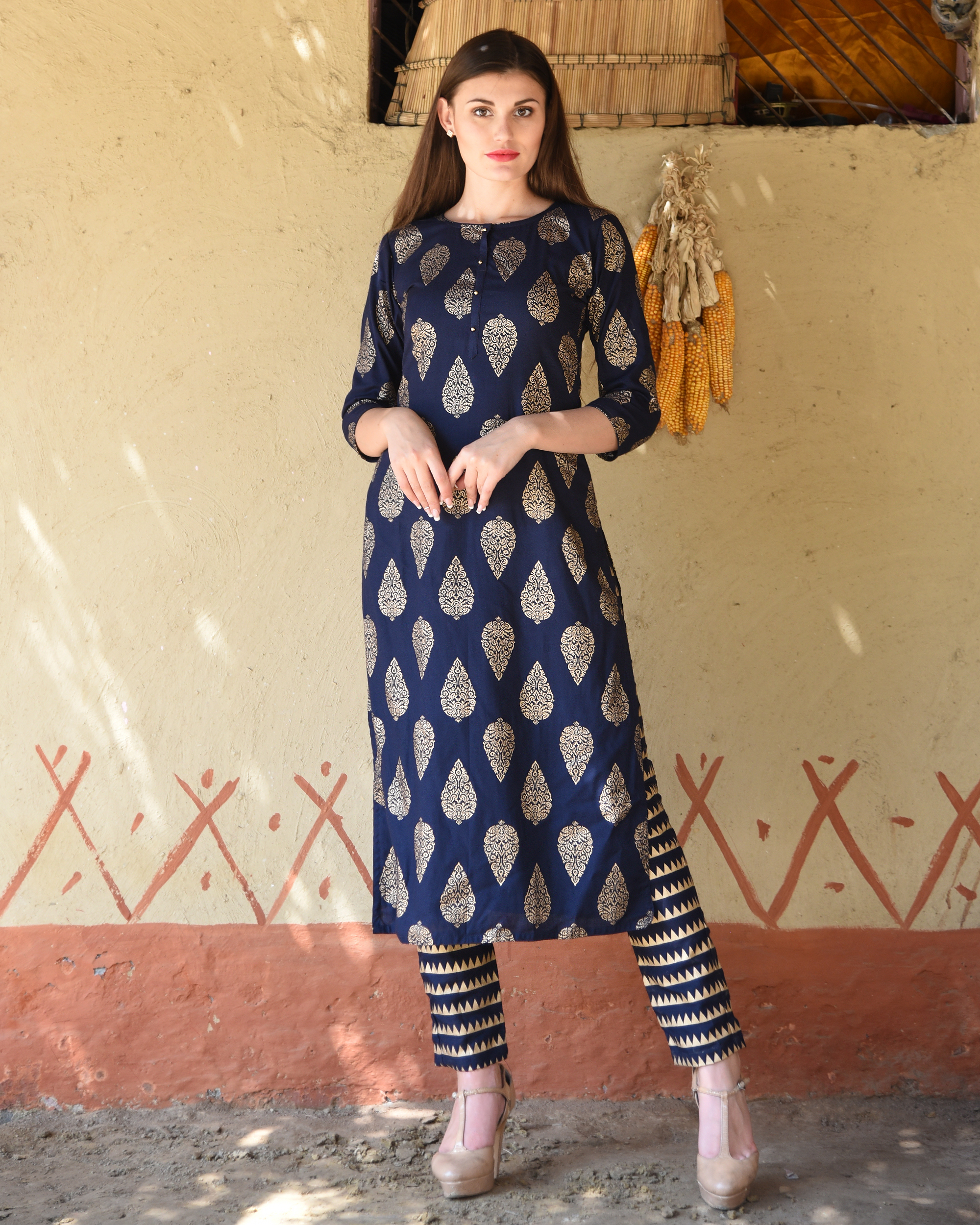Navy blue block printed kurta with striped pants