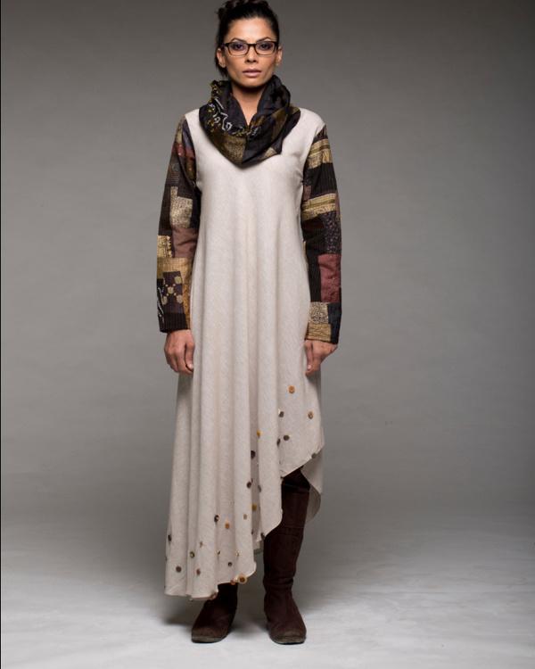 Cowl neck patchwork dress