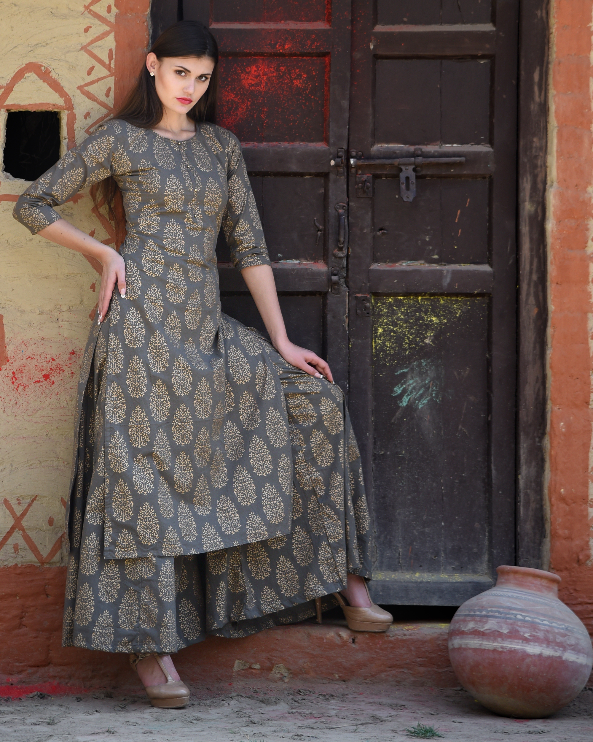 Grey block printed kurta with palazzos