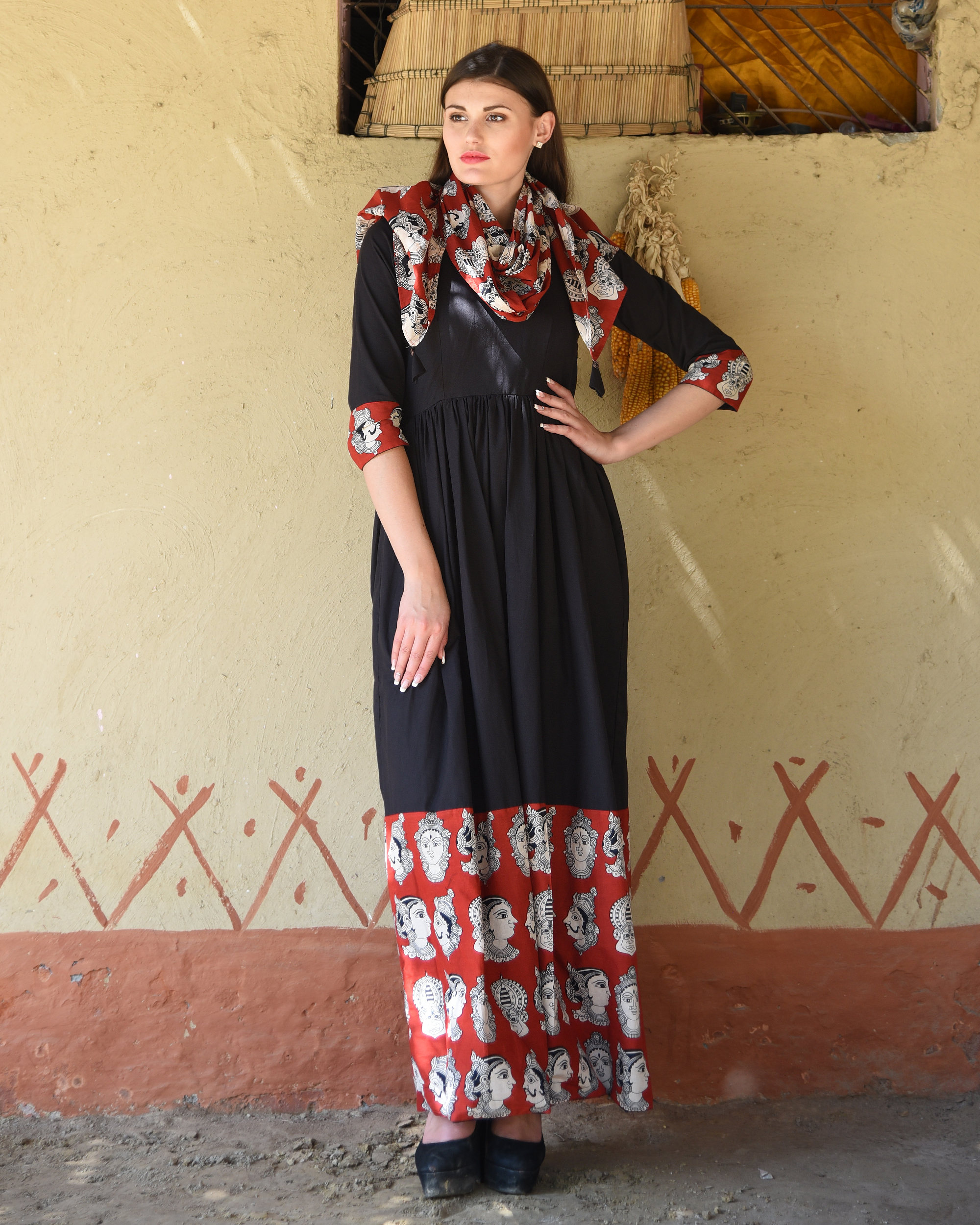Black gathered dress with kalamkari border