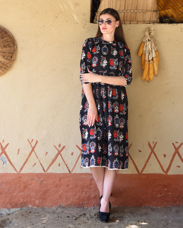 Black gathered kalamkari midi dress