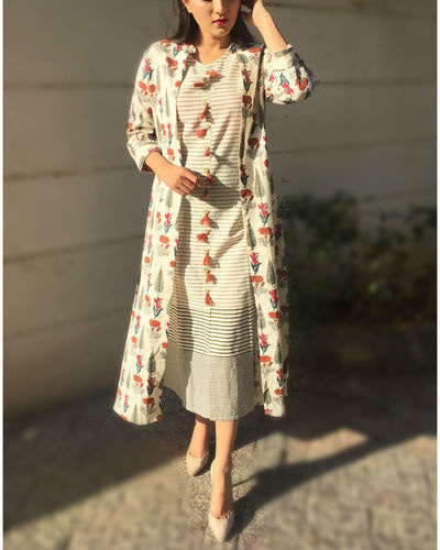 Set Of Off White Printed Jacket With Slit Kurta