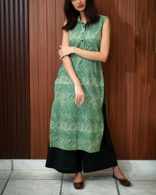 Green shibori printed tunic