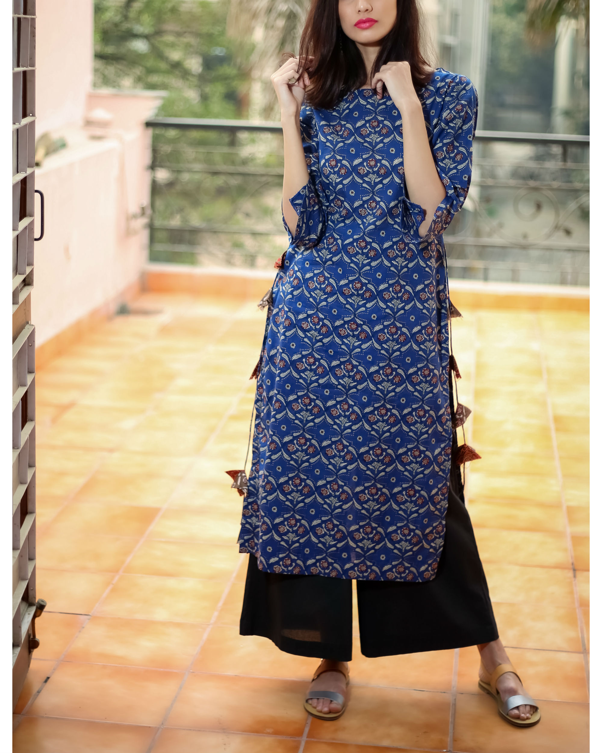 Blue tasselled kurta