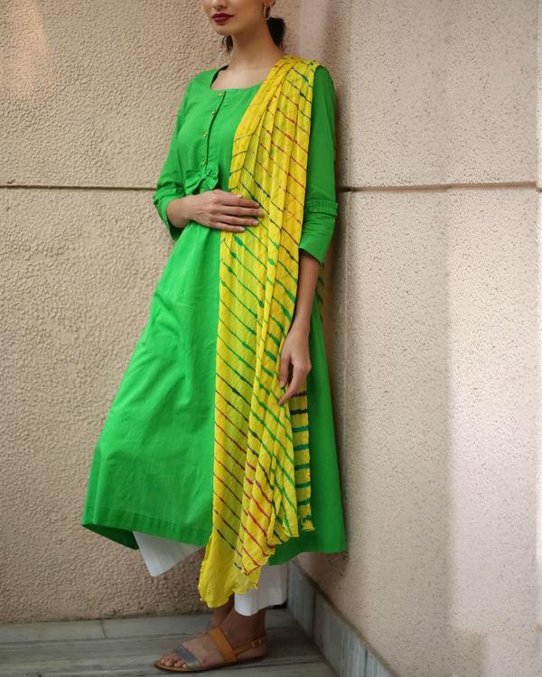 Yellow lehriya kurta set