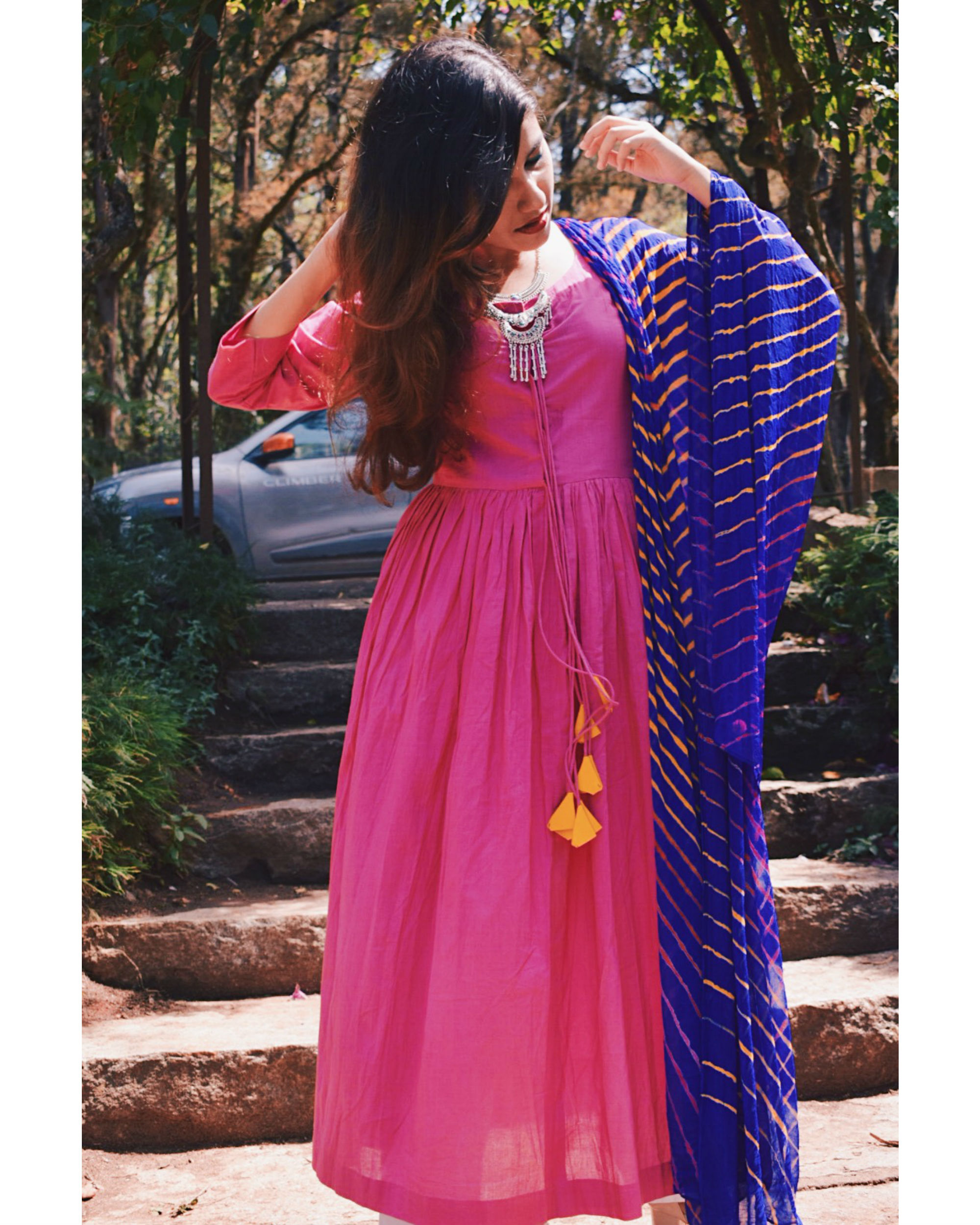 Pink anarkali with handmade dupatta