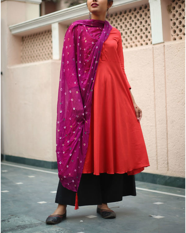Red kurta set with purple bandhej dupatta