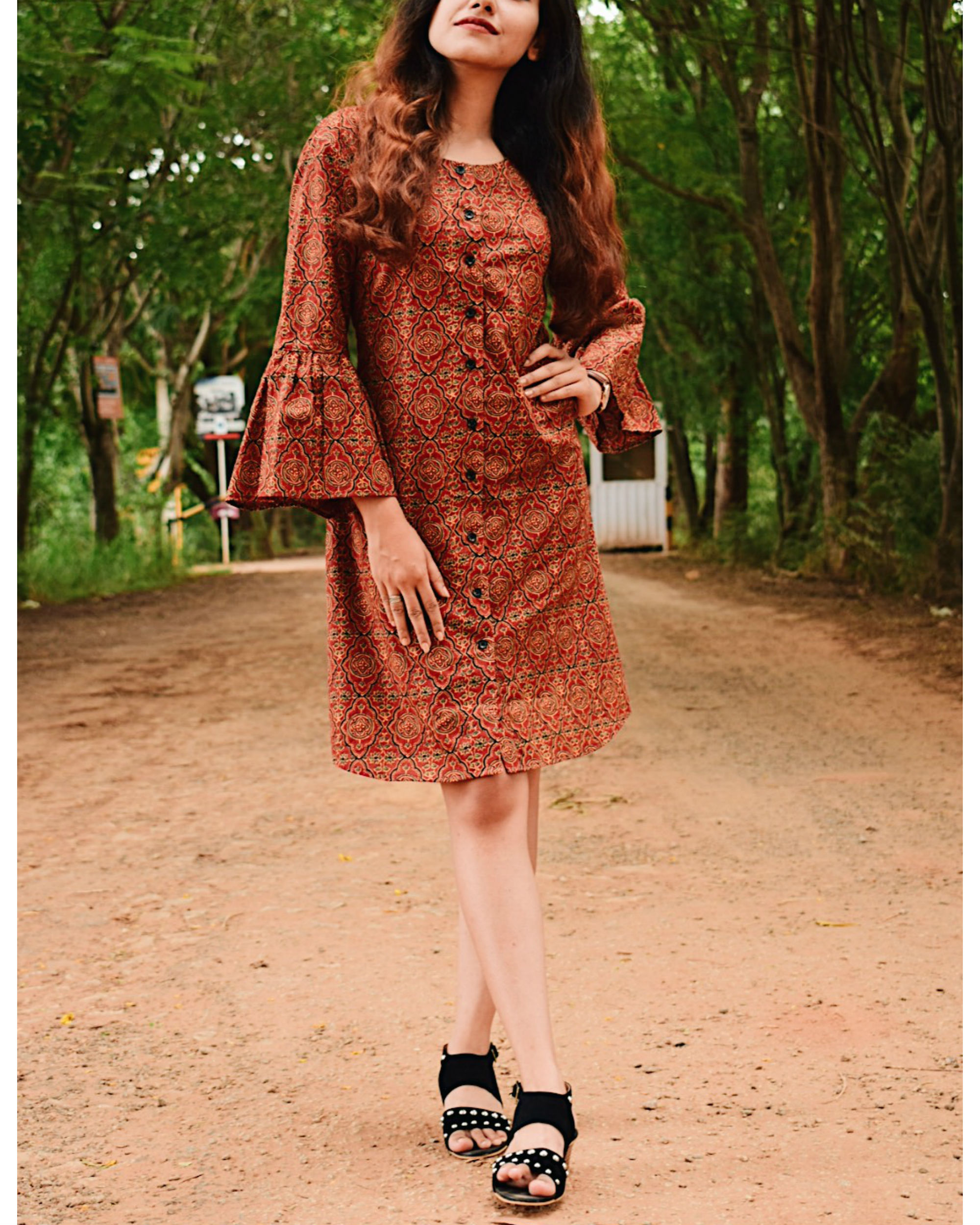Persian printed bell sleeved dress