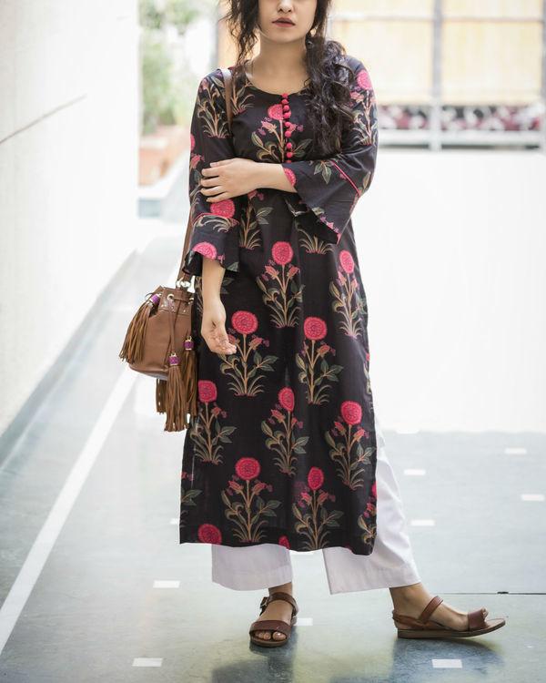 Bright & bold black kurta
