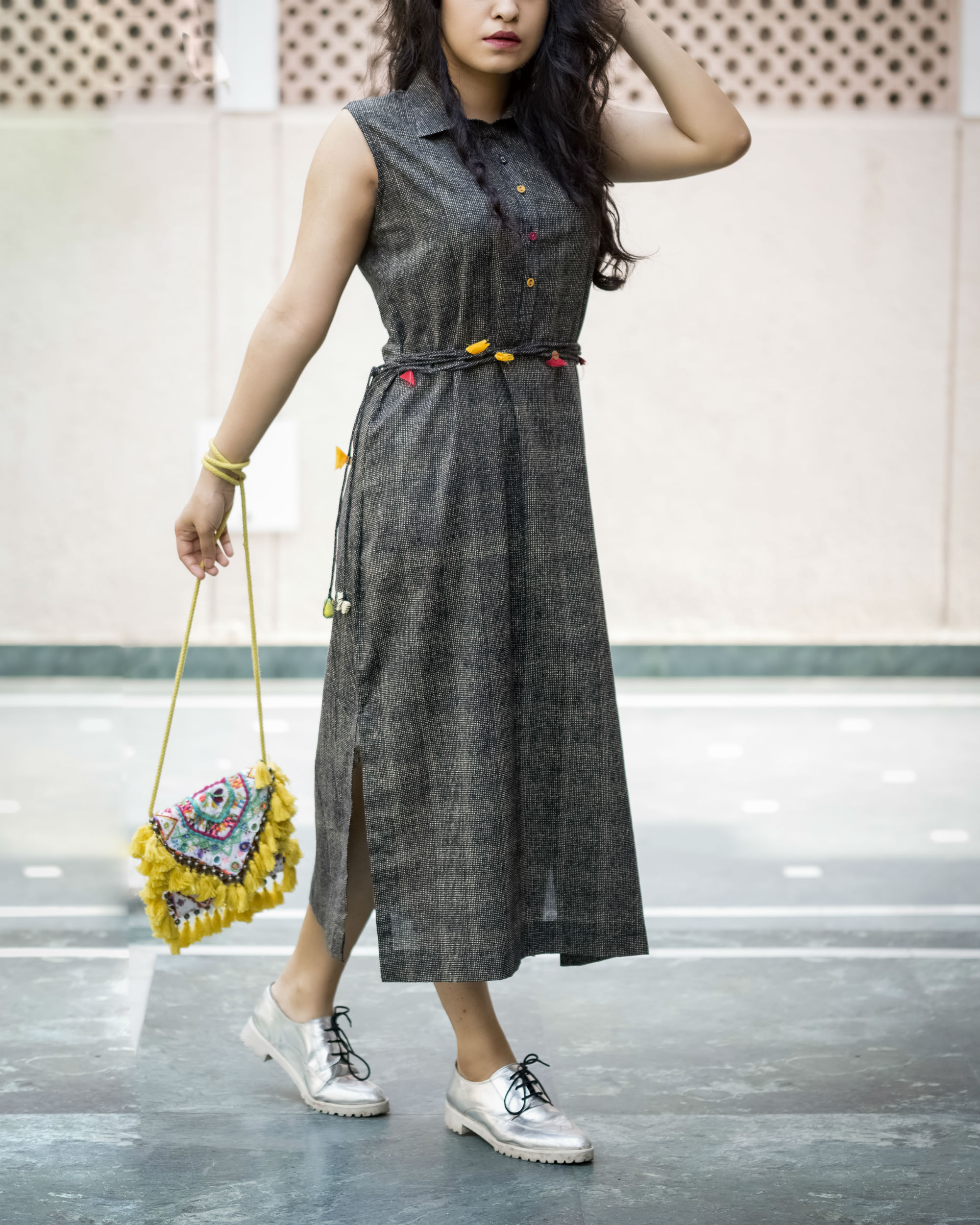 Charcoal belted dress