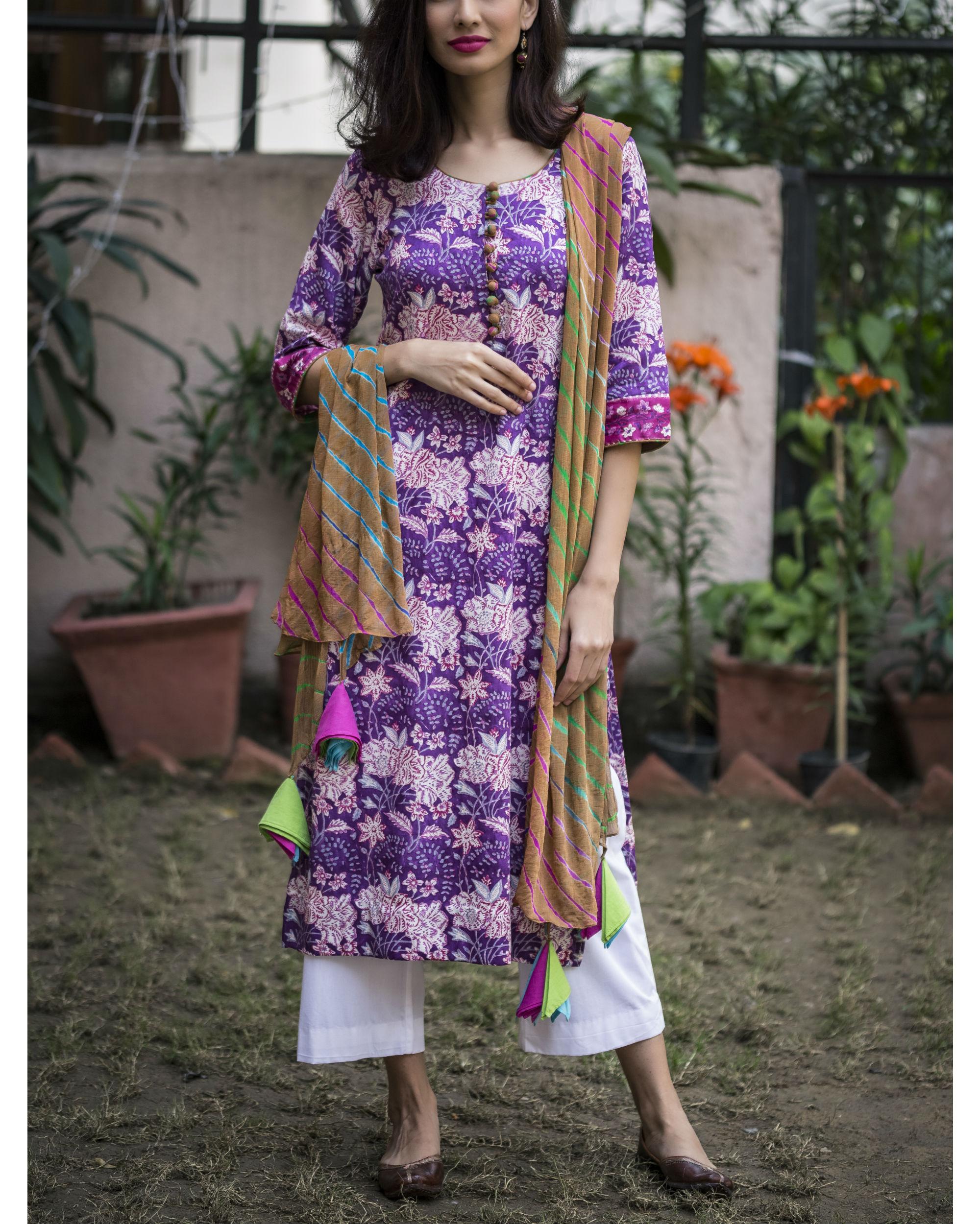 Purple floral kurta set