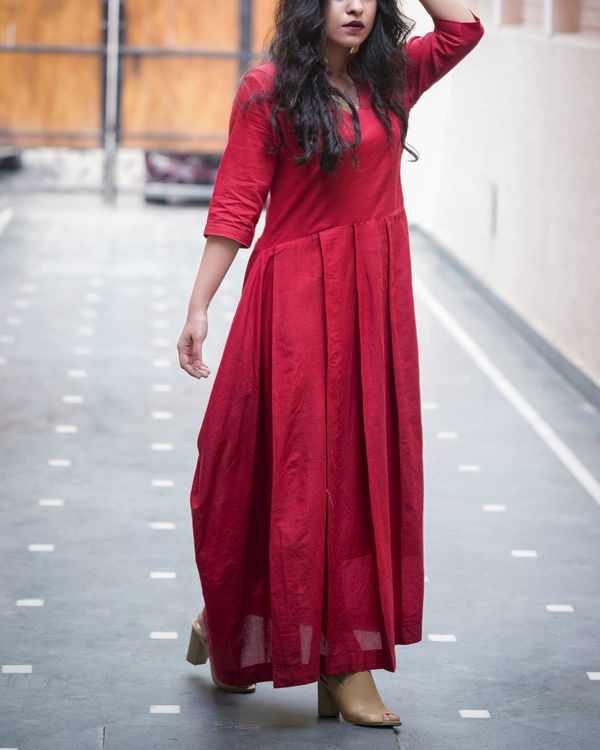 Maroon side cowl gown