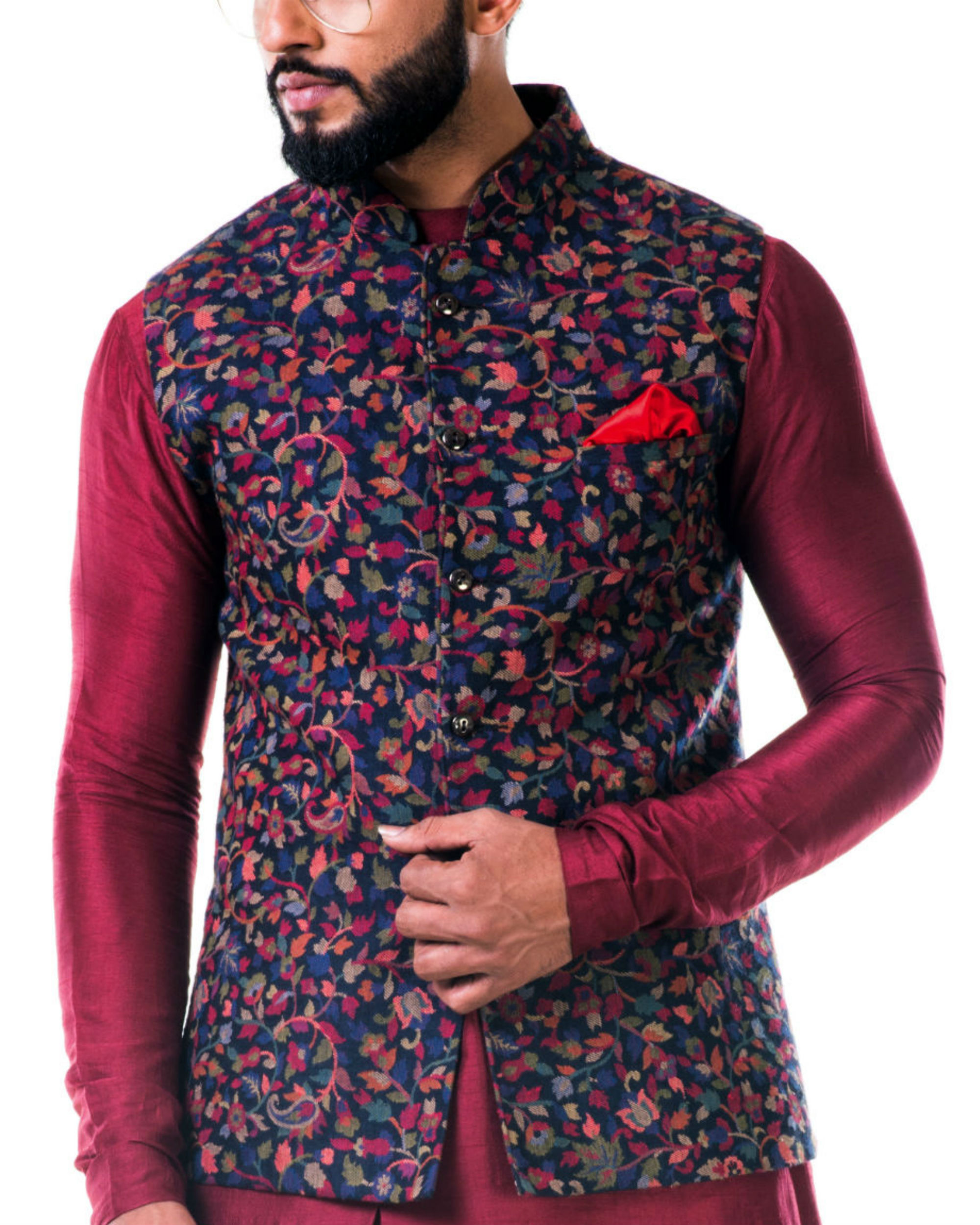 Multicolour leaf weave pashmina nehru jacket