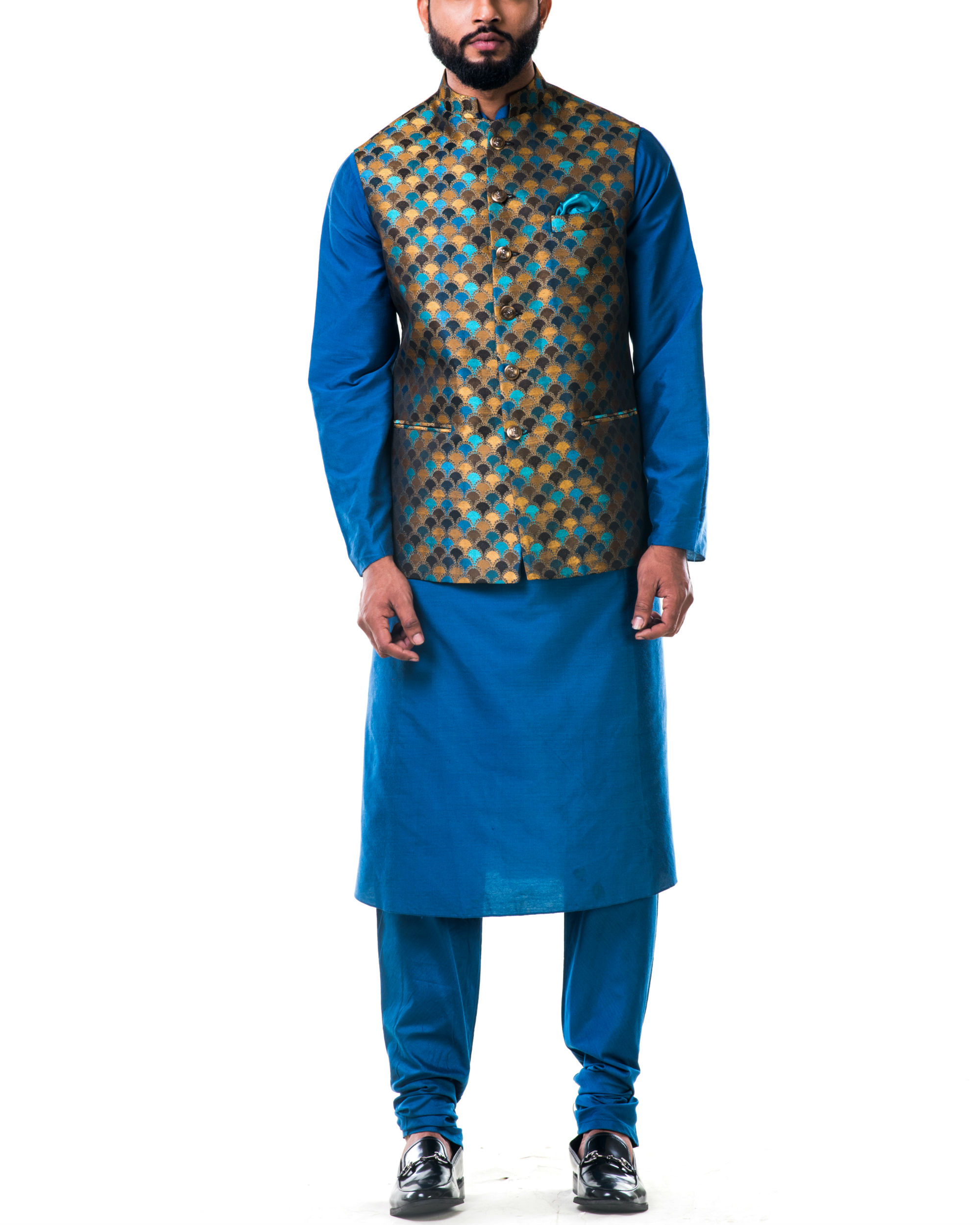 Blue katan silk kurta set with a multicolour scallop nehru jacket