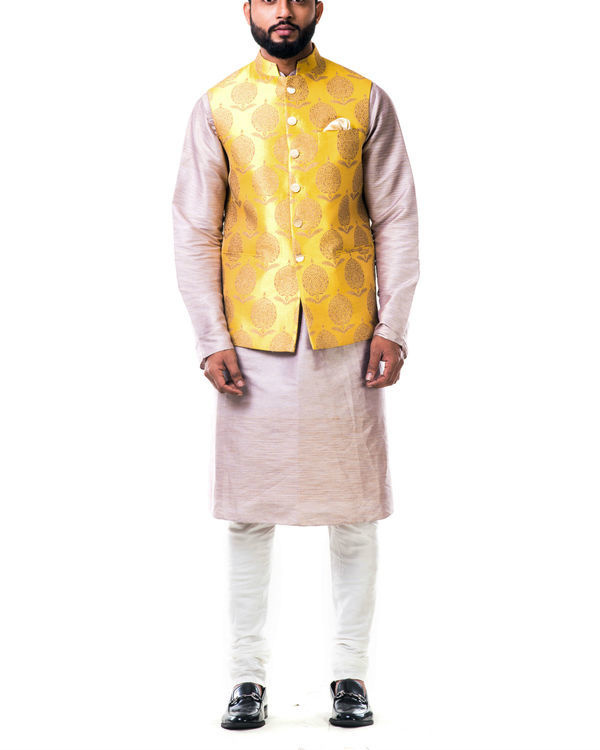Mauve cotton silk kurta set with a bright yellow brocade nehru jacket
