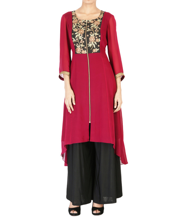 Wine georgette tunic