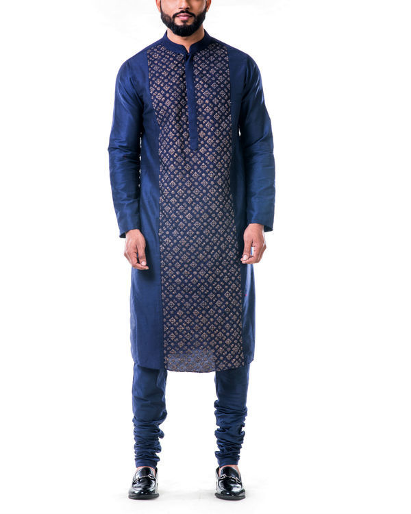 Blue gold embroidery silk kurta set