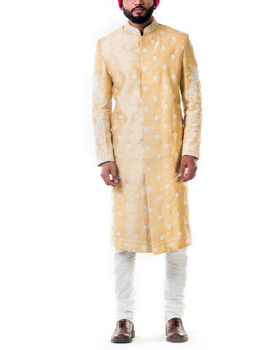 Off White Thread Work Embroidery Sherwani Set