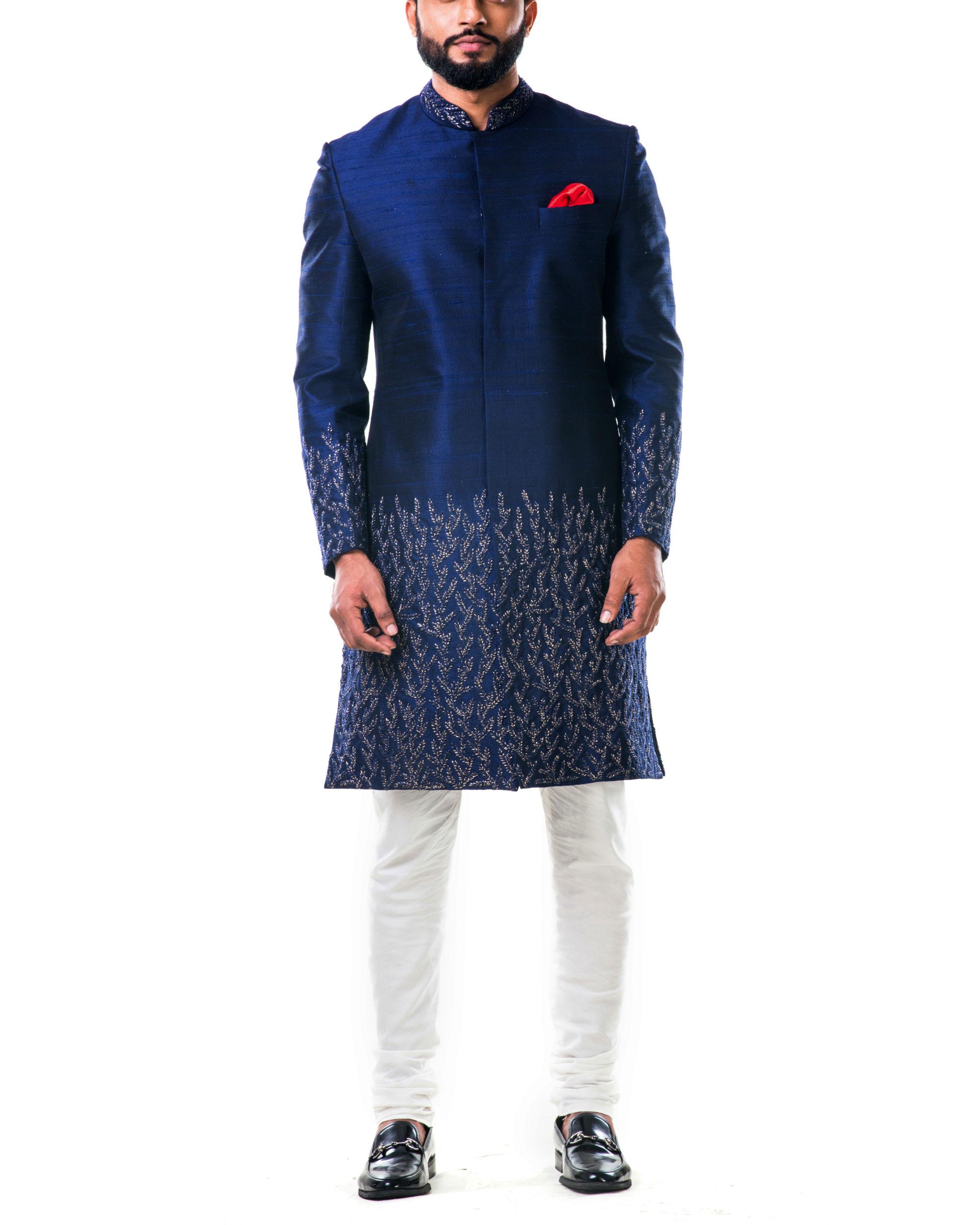Midnight blue hand embroidered thread work sherwani set