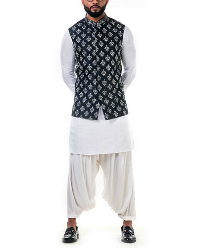 White Linen Satin Kurta Set With A Black Silk Nehru Jacket With White Cord Floral Embroidery