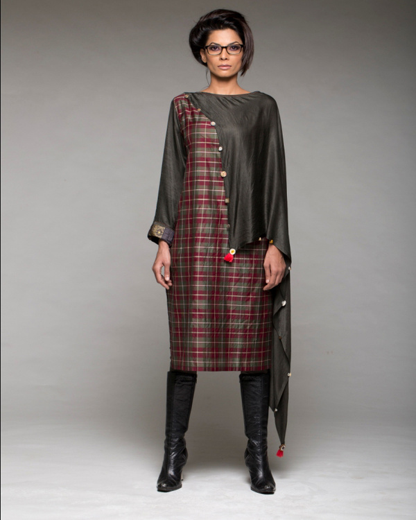 A line shift dress with attached scarf and pants