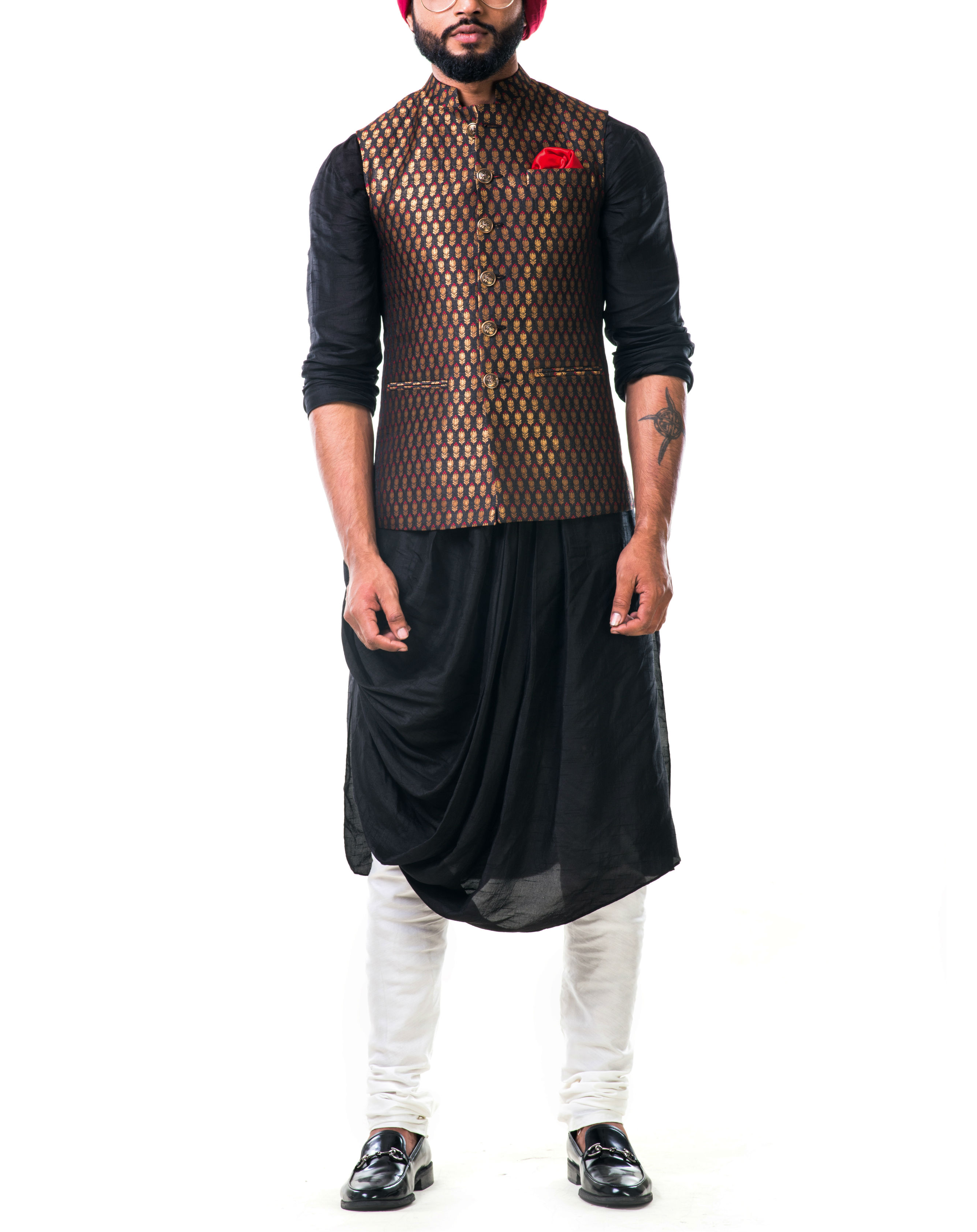 Black cowl kurta set with a black brocade nehru jacket with golden floral motifs