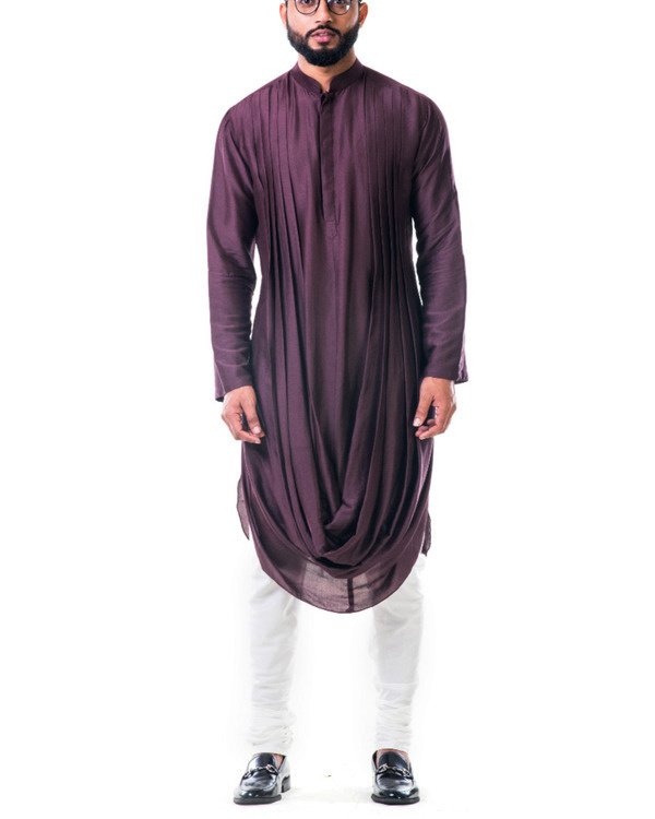 Brown double cowl kurta set