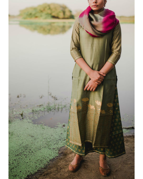 Teal lotus printed color kurta set with teal-pink dupatta