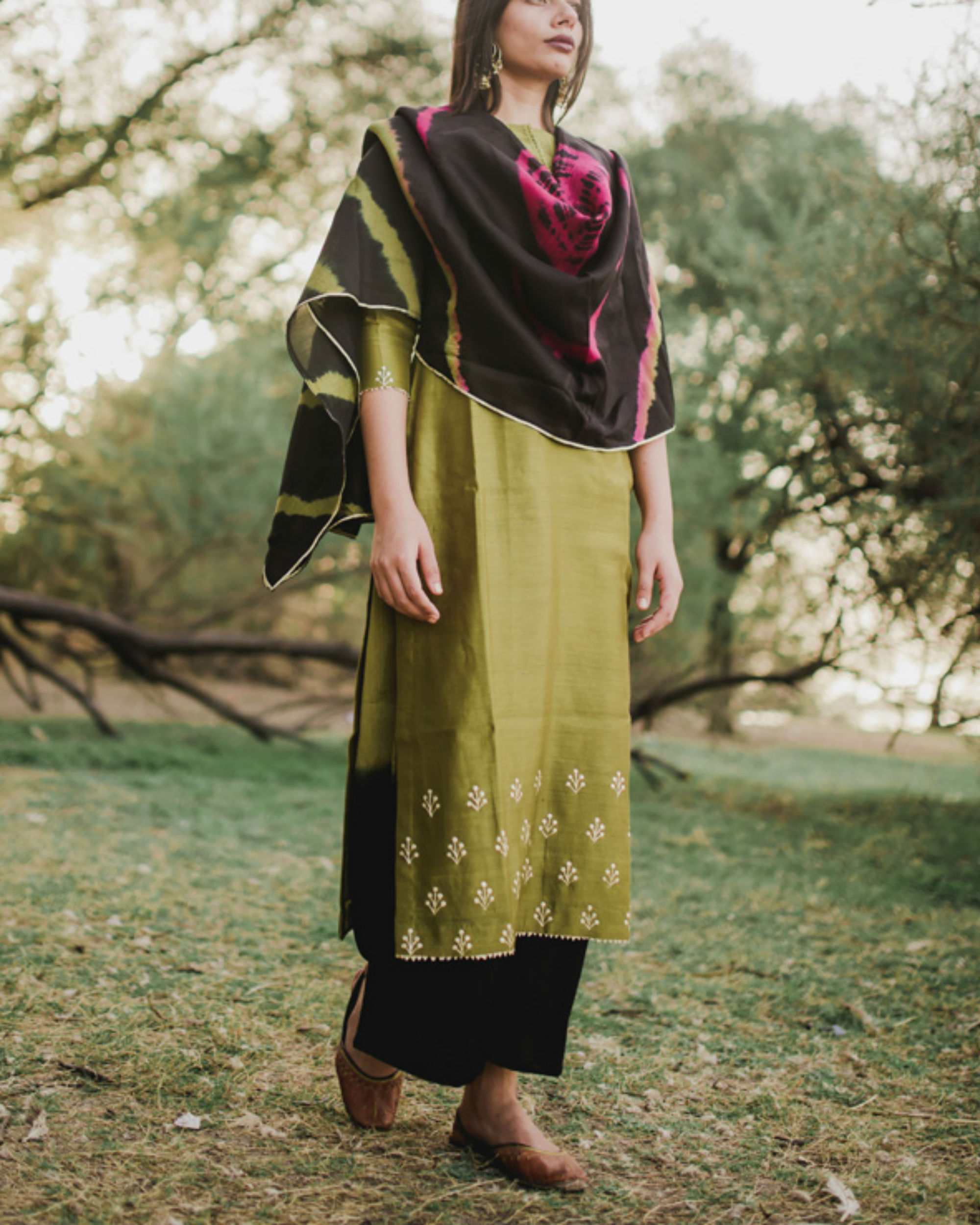 Olive green hand embroidered floral set with pink-black dupatta