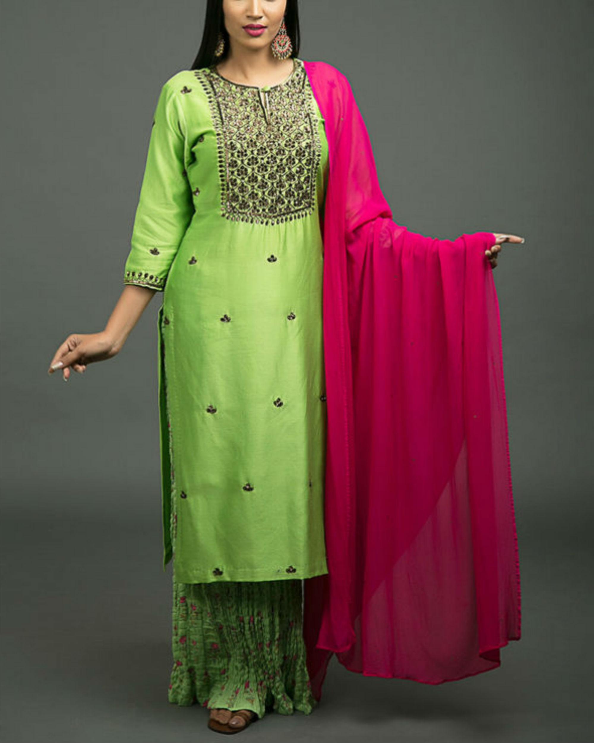 Hara peshawari embroidered kurta set with lime green dupatta