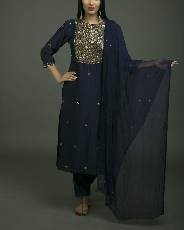 Roshanara embroidered neela kurta set with navy blue dupatta