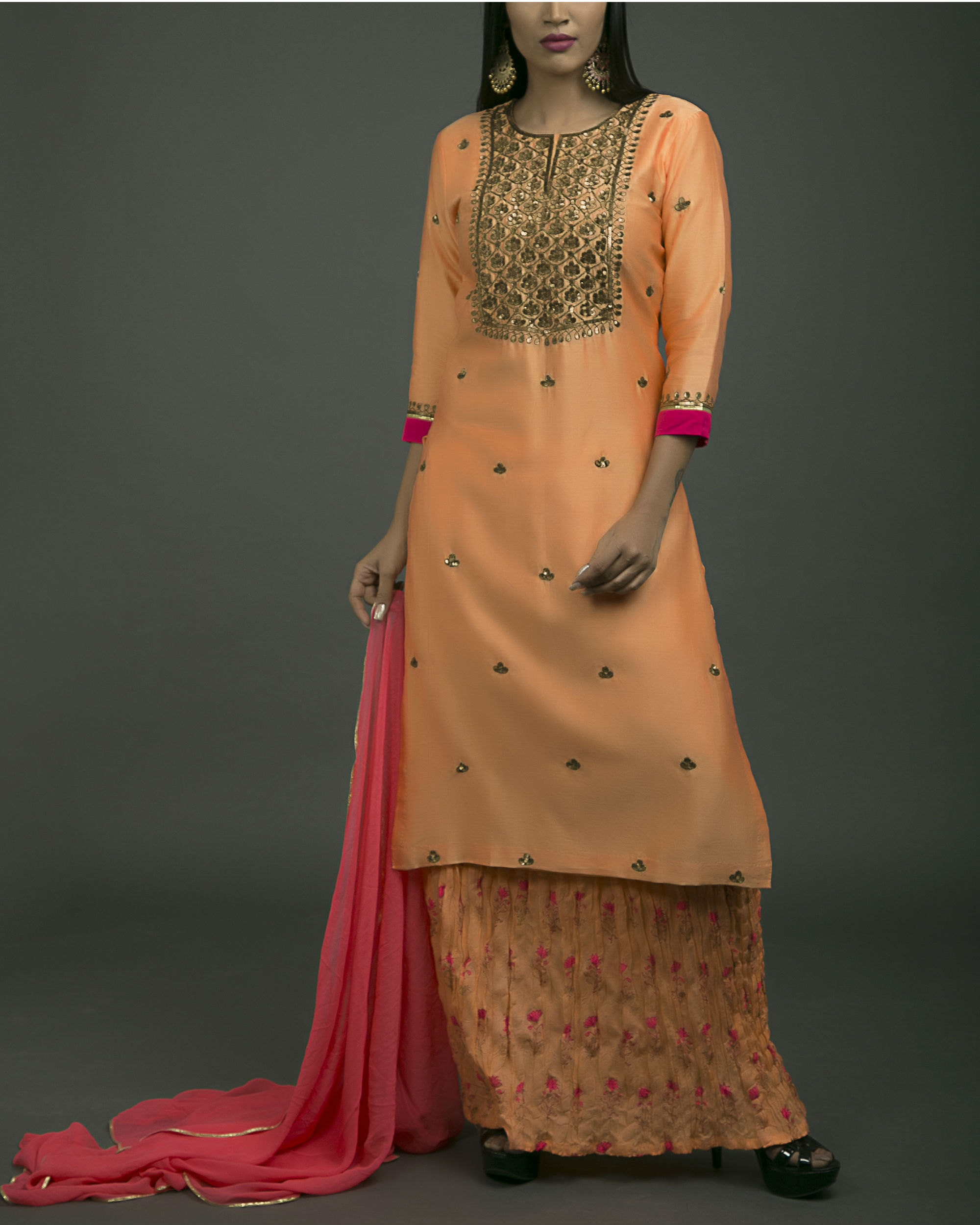 Gulaabi baagh embroidered kurta set with orange dupatta