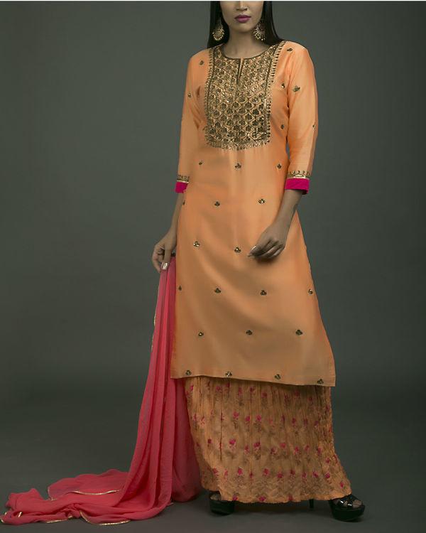 Gulaabi baagh embroidered kurta set with orange dupatta