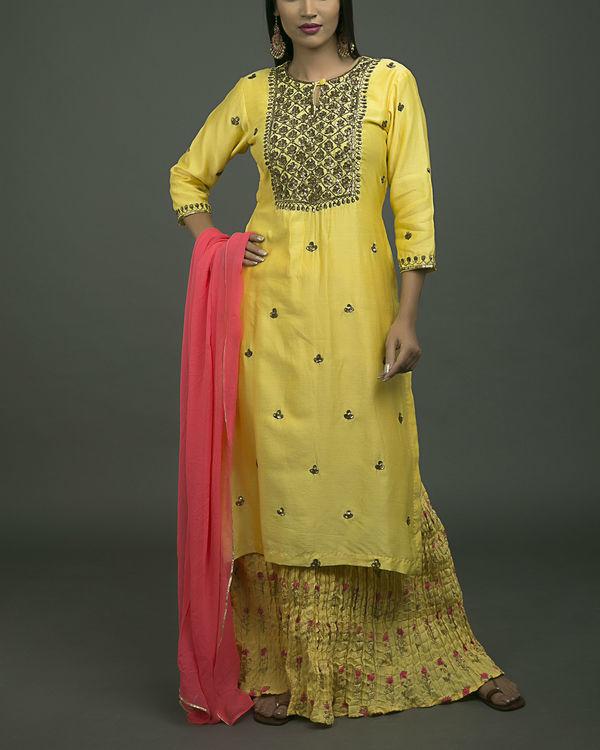 Kesri jaal embroidered kurta set with orange dupatta