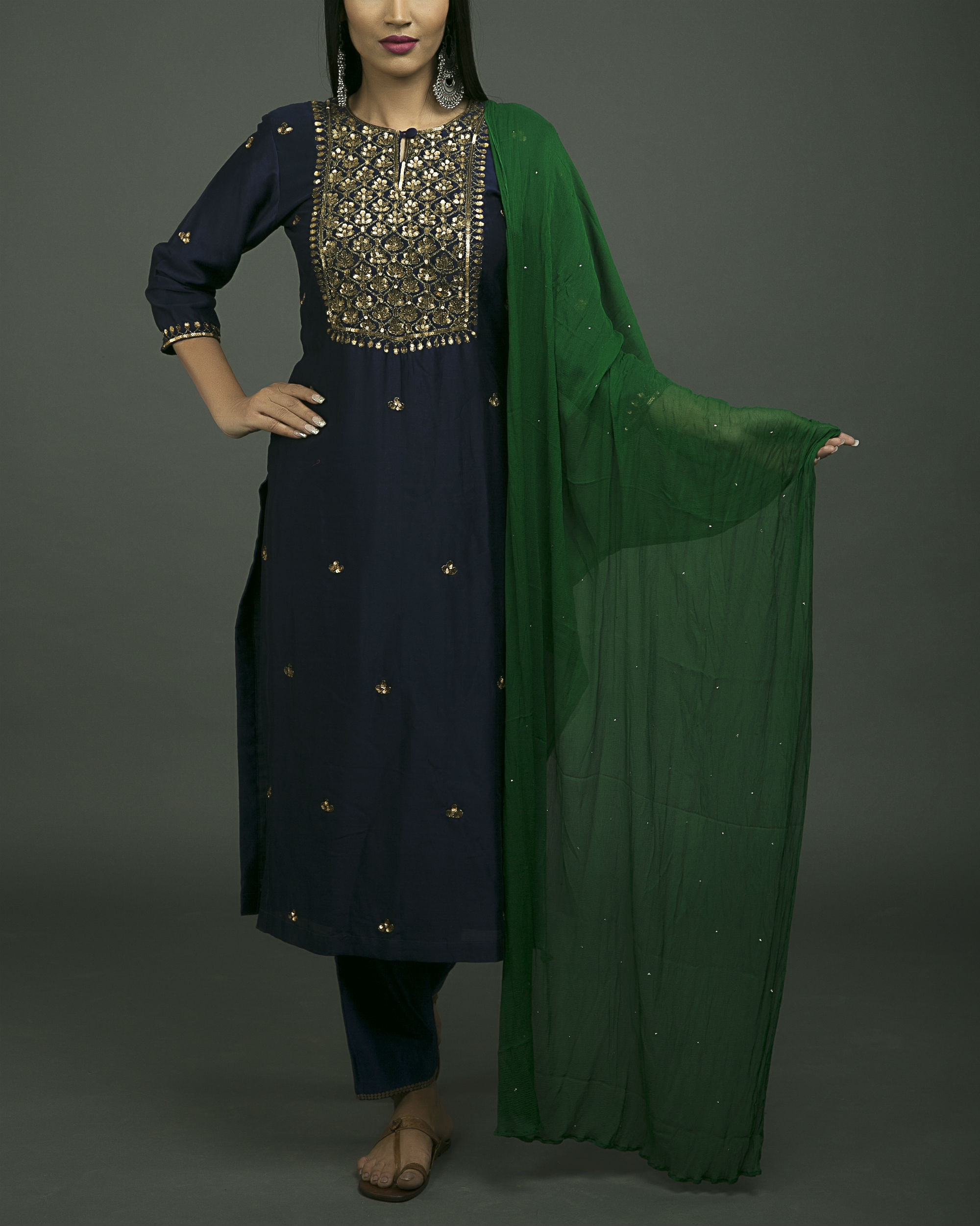 Roshanara embroidered neela kurta set with green dupatta