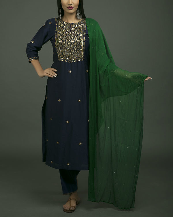 Roshanara embroidered neela kurta set with green dupatta