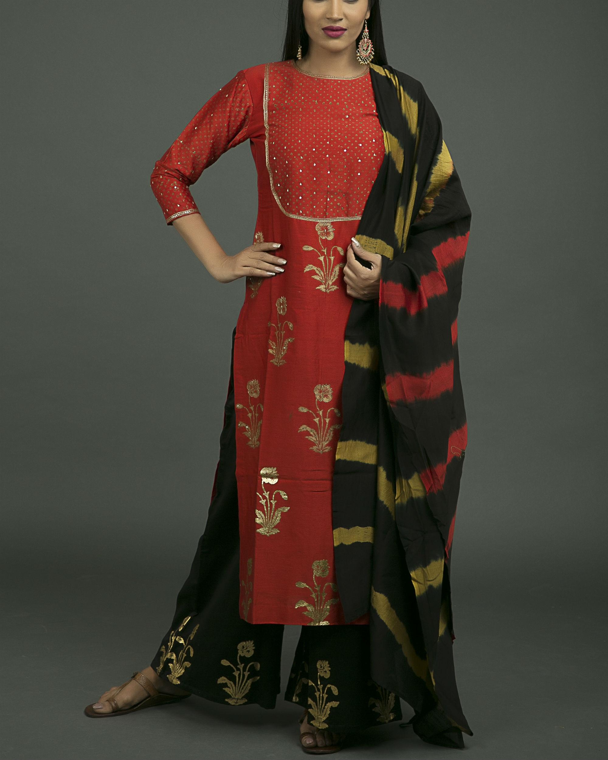 Brick red mughal bootah kurta set with red yellow dupatta