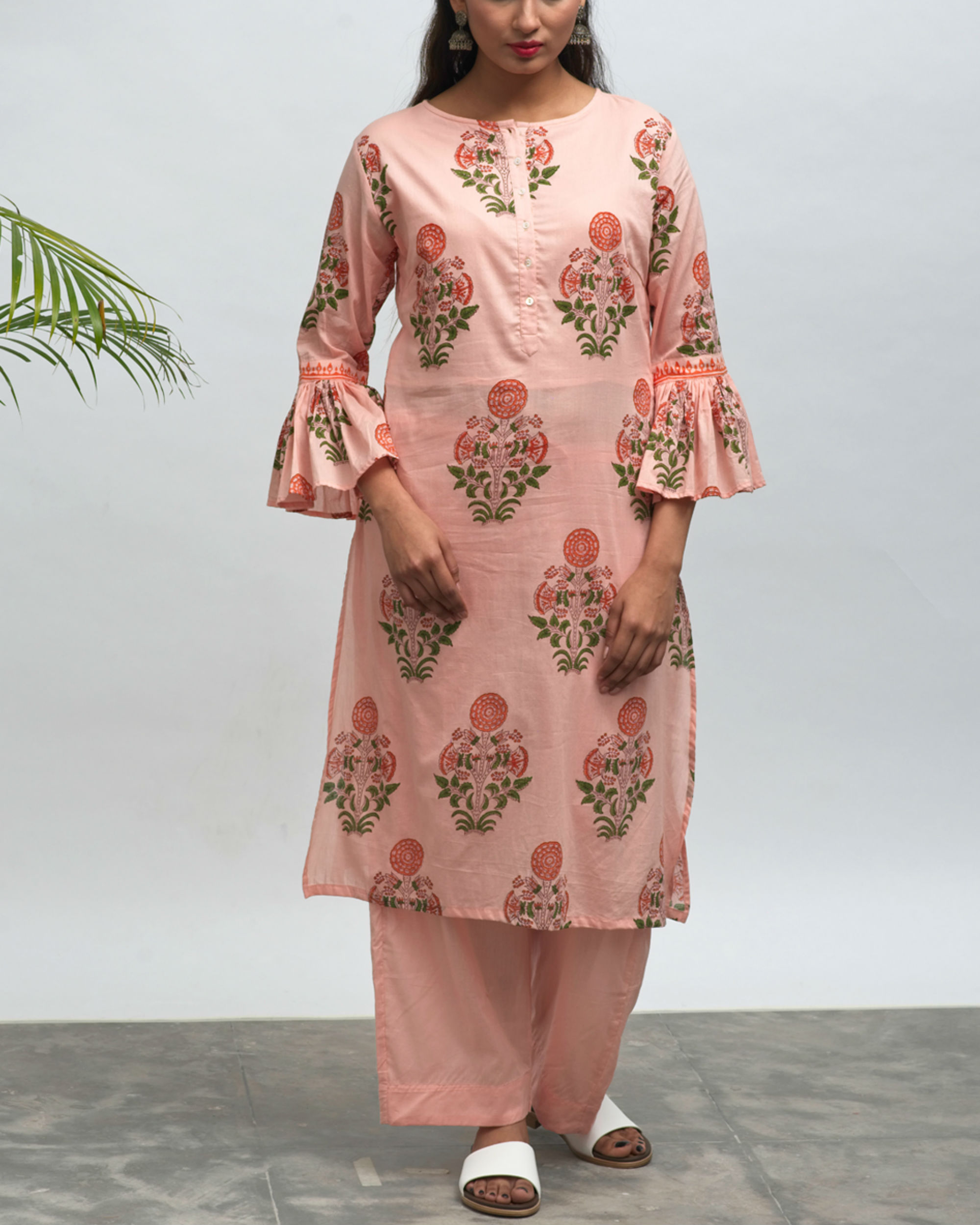 Tea party hand block printed kurta pant set